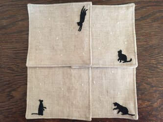 コースター 雪と黒猫のコースターの画像
