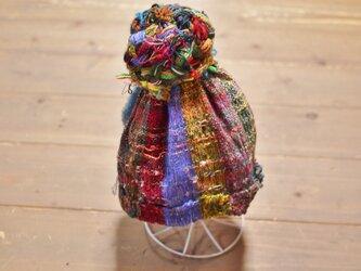 手織り お団子キャップ 帽子の画像