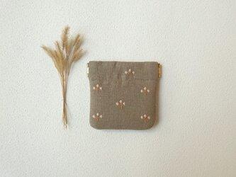 植物バネポーチ(ミニ・グレーベージュ)の画像