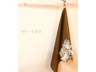 ☆木綿のハンカチーフ×刺繍モチーフ☆(グレー:グレー、茶、ベージュ) 【送料無料】の画像