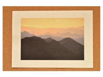 日本の美♪ 和紙プリント☆ 大きめの写真 美濃和紙 黄昏の山脈 A3の画像