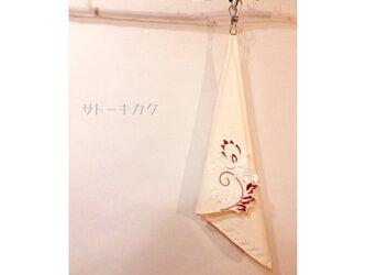 ☆木綿のハンカチーフ×刺繍モチーフ☆(クリーム:エンジ) 【送料無料】の画像