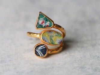 古代モザイク・ガラス 指輪*free size フリーサイズの画像