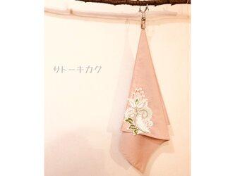 ☆木綿のハンカチーフ×刺繍モチーフ☆(ピンク:ピンク、グリーン) 【送料無料】の画像