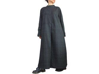 ジョムトン手織り綿ゆったりハイネックドレス 墨黒 (DFS-059-01)の画像