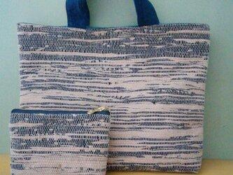 裂き織りバックとポーチセット☆柿渋で染めた手ぬぐいで裂き織りの画像