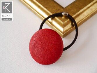 シンプルで小洒落れたラウンドレザーポニー 本革  ヘアゴム・レッド 赤の画像