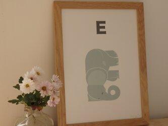E for Elephant A4サイズポスター(A3サイズあり!)の画像
