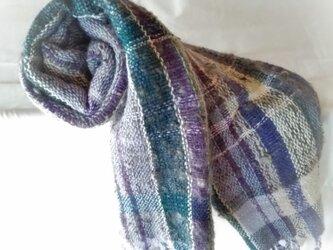 手紡ぎ羊毛とウールのストールの画像