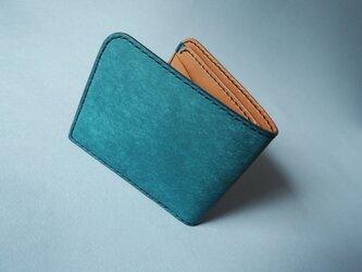イタリアンレザーの二つ折り財布(ブルー×キャメル)の画像