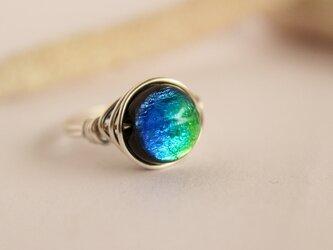 とんぼ玉 Blue×Yellow Wire Ring の画像