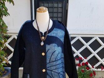 着物リメイク 手作り 筒描き、藍 上着の画像