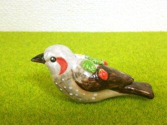 ヒヨドリ&苺 花小鳥/大(陶器)の画像