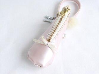 イニシャル  キラキラ  幸運のチャーム♪ミニバレエシューズリップケース    パールピンクの画像