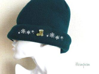 クリスマスブーツのピンバッジ☆グリーン ホムポムの画像