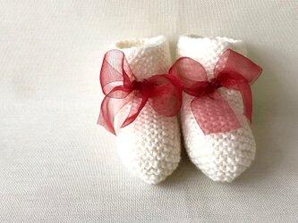 クリスマス ベビーブーティー ウール×シルク ホワイトの画像
