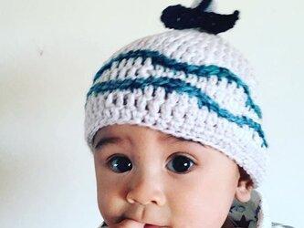 赤ちゃん誕生!!クジラの尻尾と波  S とんがり帽子 ニット帽 の画像
