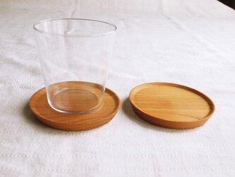 2枚セット 木製コースター 欅材4 丸型の画像
