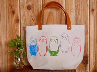 パステルセキセイインコのミニトートバッグ 【再販】の画像