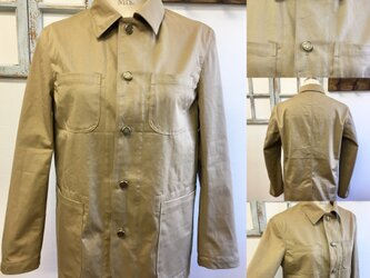 男女兼用❤コットン素材のカバーオールジャケット ベージュ(男女フリー  メンズ ML、レディース L〜L  L)の画像