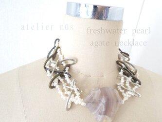 淡水パール×メタルパーツ×瑪瑙(めのう) ネックレスの画像
