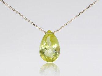 #635N★K18、K10★極上大粒レモンクォーツ(グリーンゴールド)のネックレスの画像
