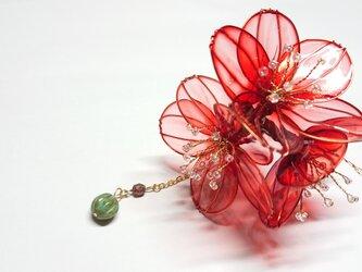 小花の髪飾り (猩々緋)の画像