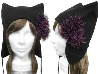 ボンボンブローチ 耳あて付ネコ耳帽子◆ウール混ニット/ブラックの画像