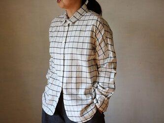 ドロップシャツ:起毛格子白の画像