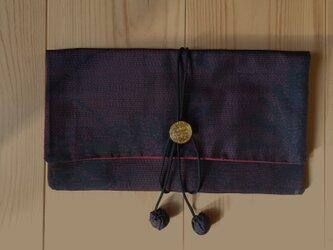 <20%offセール中 ¥4300→¥3440>着物リメイク 袱紗  <大島紬(菊模様)×赤>の画像