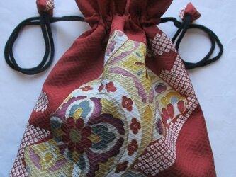 送料無料 花柄の着物で作った巾着袋 3920の画像