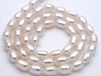 連40cm 中粒 淡水パール ライス ホワイト系 真珠 6mm 7mm 素材 パーツ 材料 ポイント消化の画像