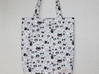 【再販】やわらか縦長トートバッグ★A4★ネコ・犬柄(黒×白)の画像