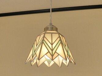 ホワイトブルー(ステンドグラスペンダントライト) 吊り下げ照明・ガラス Lサイズ・(コード長さ調節可)24の画像
