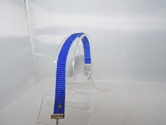 ビーズ織り【シンプルブレスレット】青の画像