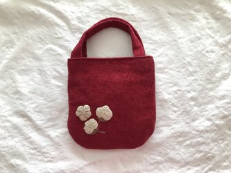めんか刺繍のミニバッグ(あか)の画像