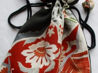 送料無料 色留袖で作った巾着袋 3924の画像