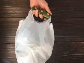 送料無料 牛革 グリーン ハンドルカバー エコバッグ コンビニ袋の画像