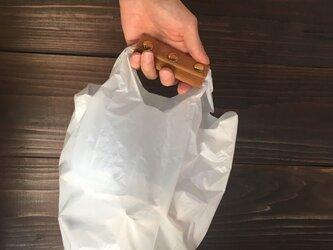 送料無料 牛革 ハラコ ハンドルカバー エコバッグ コンビニ袋の画像