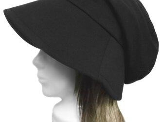 鹿の子織ウールニット/つば広女優帽子(ゆったり)◆ブラックの画像