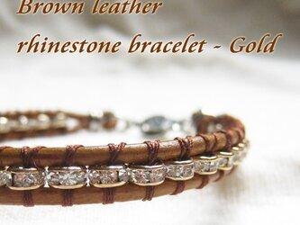 ラインストーンブラウンレザーラップブレスレット - ゴールドの画像