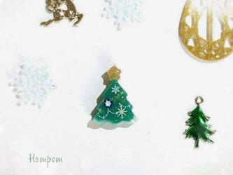 クリスマスツリーのピンバッジ☆グリーン ホムポムの画像