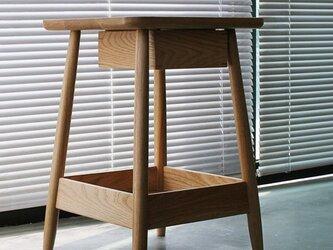 オーダーメイド 職人手作り プリンター台 サイドテーブル 天然木 木目 収納 オフィス家具 無垢材 エコ LR2018の画像