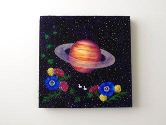 油絵 アートキャンバス「Night Flower」宇宙 土星の画像