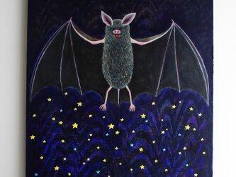 油絵 アートキャンバス「夜を作る」F8 蝙蝠 コウモリの画像