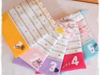 自分で用意!毎日の巾着:girl (ランチ袋・マスク袋・ランチョンマット袋などに)の画像