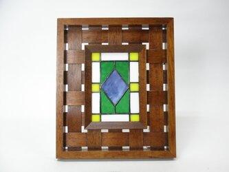 ステンドグラスパネル トラッド柄 アンティークフレーム BLの画像