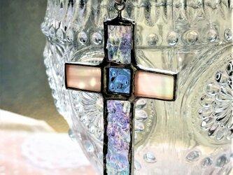 ステンドグラス クロスネックレス~クリアの画像