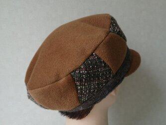 魅せる帽子☆カシミヤで暖かく♪イタリアンウールのベレー風キャスケット~キャメルの画像