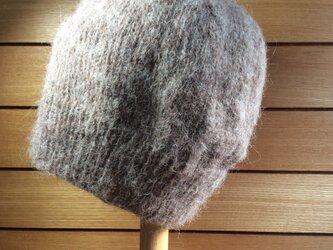 モヘア・ニット帽 ブラウンの画像